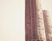 Chicago Art Print, Marina Towers, Chicago Skyline Decor, neutral, minimalist, architecture, landscape, wall decor, light, white wall decor