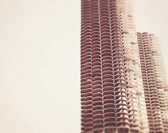 Chicago, Marina Towers, Chicago Photograph, Neutral Wall Art Print, corn cob building, beige, white wall art, creme, minimalist architecture