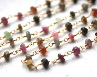 1 Foot Faceted Watermelon Tourmaline Gemstones on Gold Plated Wire Chain // Wire Wrapped Bead Chain // Jewelry Supply