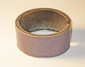 Vintage Wide Purple Leather Hinged Cuff Bracelet (BR-2-1)