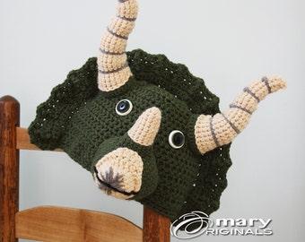 Triceratops Hat, Dinosaur Hat,Dino Hat, Halloween Costume, Animal Hat, Crochet Beanie, Boy's Clothing, Girl's Clothing, Photography Prop,