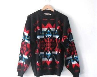 Vintage Mens 80s Southwest Tribal sweater / Boho Folk pullover oversized sweater
