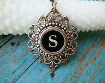 Typewriter Key - Letter S - Typewriter key Jewelry - Typewriter Necklace