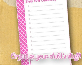 Sleep Over Check List / Printable / Girl / Form / Planner Page