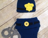 CROCHET PATTERN Policeman Hat and diaper set, cop outfit- newborn to 3 months, immediate download, w/ permission to sell finished product