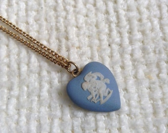 Vintage 1960 Wedgwood Heart pendant necklace and gold chain.  Marked Wedgwood, Made in England.