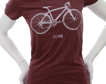 Bicycle| Soft lightweight t shirt| Slim fit| Infinite miles per gallon| Art by Matley| Cyclist| Gift for her| Bike.