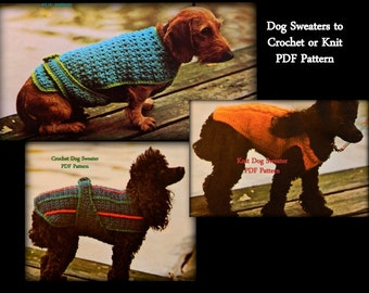 Dog Sweater Patterns - 2 to Crochet - 1 to Knit - Best Seller - PDF 01196489