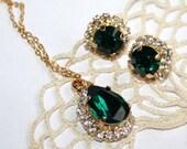 Emerald Jewelry Swarovski Rhinestone Bridal Jewelry Set Green Bridal Jewelry Necklace Earrings Emerald Crystal Bridesmaid Jewelry Wedding