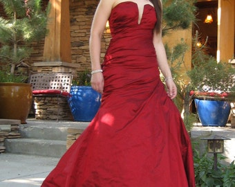 Gothic wedding gown, couture red silk corset gown