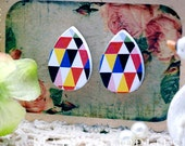 Buy 1 Get 1 Free - 20pcs  (WH47)  Tear Drop  Handmade Photo Wood Cut Cabochon (Back White)