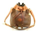 Dooney and Bourke Drawstring Cross Body Bag // Large Coco Mocha and Blue AWL