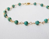 Turquoise Bracelet - Gold Filled Rosary Chain Beaded Bracelet Beadwork Bracelet Bead Rosary Bracelet