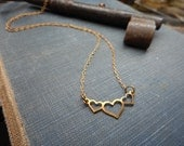 Paper Hearts. Petite Triple Heart rustic copper & Red brass chain necklace