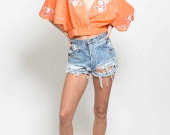 Vtg 60s 70s Super Fun NWOT Flower Orange Hippie Boho Woodstock Angel Sleeves Embroidered Crop Top S/M