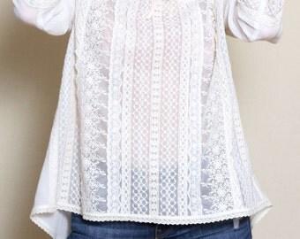 Edwardian Blouse, Plus Size Clothing, White Boho Blouse, Lace Top, Bridal Lace Top, Cotton Blouse, Bohemian Clothing, Romantic Top