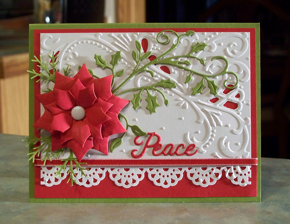 Large die cut poinsettia christmas card x for Giant christmas card ideas