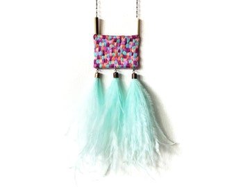 Hand Embroidered Ostrich Feather Tassels Purple Turquoise Blue Mint Violet Blush Pink Fuchsia Geometric Pendant Statement Necklace Jujujust