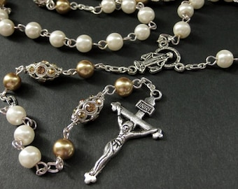 Crystal and Pearl Rosary in Champagne Gold and White. Crystal Rosary. Handmade Rosary. Catholic Rosary. White Rosary. Handmade Rosaries.