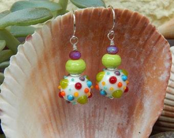 Rainbow Bubble Earrings - Artist-Made Lampwork Glass Beads w Frosty Czech Glass & Argentium Ear Wires / Proceeds Benefit Kids w Autism