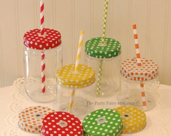 Plastic Mason Jars, 8 Plastic Mason Jars & POLKA DOT Jar Lids with Grommets and Straw Holes, Mason Jar Cups, Mason Jar Decor, Kids Party Cup