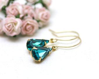 Stunning Teal Estate Swarovski Crystal Earrings in Gold | Super Sparkly Vintage Crystals in Rich Teal Blue | Hollywood Regency by Azki