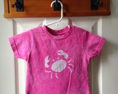 Toddler T-Shirt: Pink with Batik Crab, Short Sleeves (2T) Ready to Ship