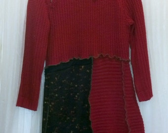 Upcycled ZIpper  Cowl Sweater red black panels OOAK Recycled...reuse, eco-friendly, boho, hippie, patchwork, wearable art