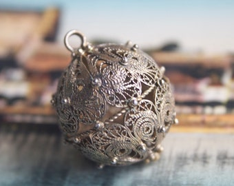 Filigree Ball Pendant, Silver Pendant, Etruscan Revival, Sterling Silver, Boho Jewelry, Gypsy Tribal Fashion,
