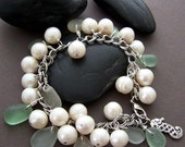 RESERVED - Rosecliff Charm Bracelet - Freshwater Pearls with Sea Glass and Sterling Silver