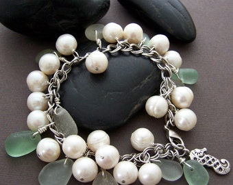 Rosecliff Charm Bracelet - Freshwater Pearls with Sea Glass and Sterling Silver