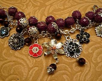 Flowers Beaded Purple Crystal Dangle  Garden  Charm Bracelet