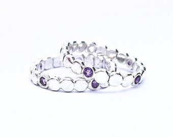 Stacking Ring - Ring Guard - Birthstone Ring - Purple Amethyst Gemstone Bubble Eternity Band - Recycled Silver Stack Ring - Made to Order -