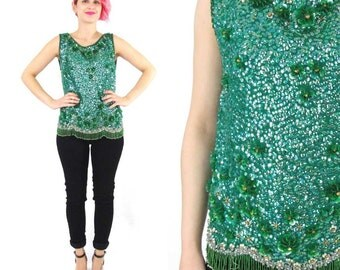 60s Green Sequin Tank Top Party Beaded Floral Blouse Gold Rhinestones Mad Men Glam Cocktail Party Fancy Fringe Hem Knit Sweater Top (M)
