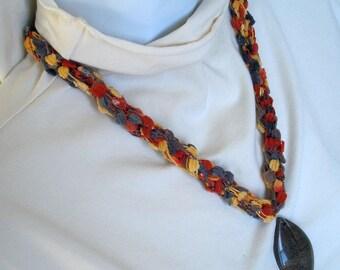 Jasper Pendant on Fiber Necklace - Textile Jewelry - Suede Ladder Type Yarn