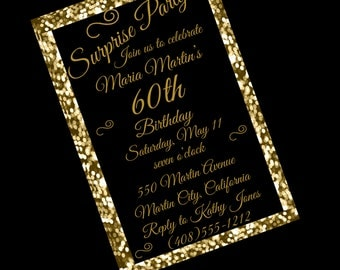 60th Birthday Invitation, 60th Birthday Party, 60th Surprise Party Invitation, Black and Gold Invitation