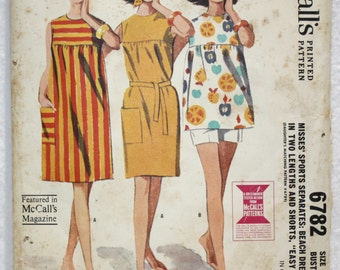 Vintage 60's McCall's  Sewing Pattern 6782 Beach Dress Shorts and Top  Size 12 Bust 32""
