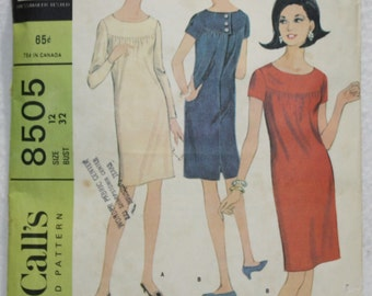 Vintage 60's McCall's  Sewing Pattern 8505  Dress with Yoke and Short or Long Sleeves Knits or Prints   Size 12 Bust 32""