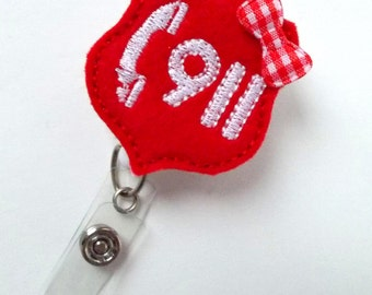 Call 911 - Retractable Badge Reel - Name Badge Holder - Police Dispatcher Badge Holder - EMT Badge - Felt Badge - Emergency Management Badge