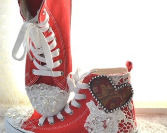 7 Embellished red High top, Romantic shoes, Shabby country chic lace pearl shoes, Street chic funky shoes, Festival 2017True rebel clothing