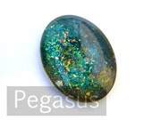 Atlantis Green Jewel Glass OVAL Cabochon (3 Piece, 6 size options) Fantasy Glass Gem wedding favor,larp pendant,elven jewelry,fairy cosplay
