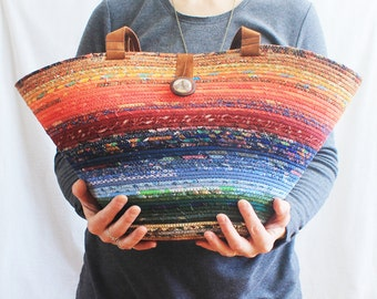 Coiled Fabric Bag / Wrapped Clothesline Tote / Gypsy Bohemian Multicoloured by PrairieThreads