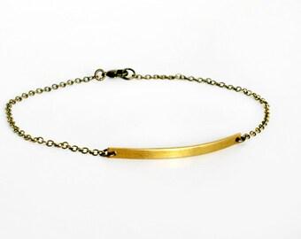 Brass Bar Anklet, Bar Bracelet