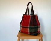 Checkered red green woolen blanket shoulder bag, tapestry bag