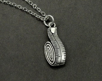 Seamstress Measuring Tape Necklace, Silver Plated Tape Measure Charm on a Silver Cable Chain
