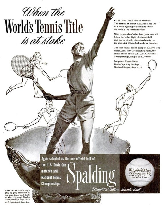 1947 Spalding Tennis Advertisement Print Poster Ad Sports