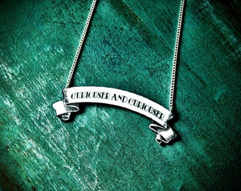 Curiouser and Curiouser Alice in Wonderland Quote Black and White Victorian Illustration Necklace