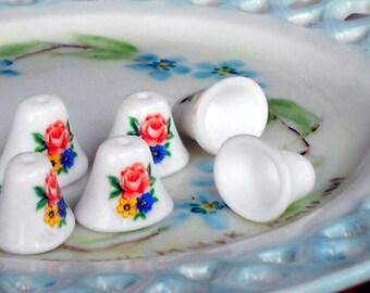 Vintage Glass Beads Bell Bells Limoges Floral Roses Flowers Porcelain NOS. #586