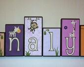 Personalized Wood Blocks - Baby Room Custom Names - M2M CoCaLo's Jacana Bedding Monkeys