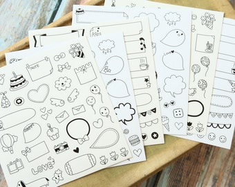 Q Polaroid Deco Stickers ver 3 - 6pc set
